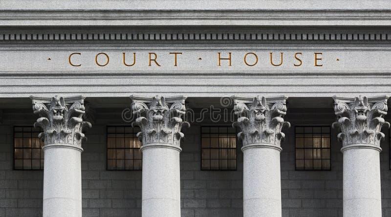 Inschrijving op het gerechtsgebouw royalty-vrije stock afbeelding