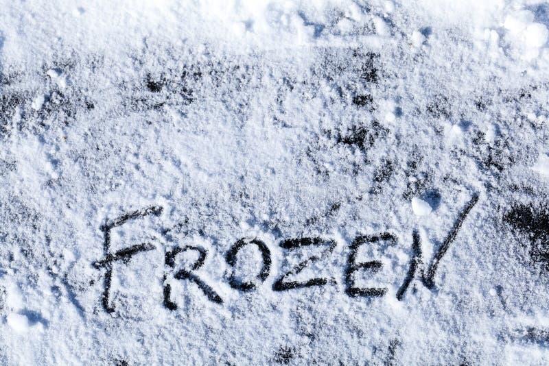 Inschrijving op ijs werkelijk wordt bevroren dat royalty-vrije stock afbeelding
