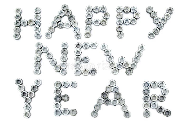 Inschrijving van gelukkig nieuw jaar van schroef-noten stock foto