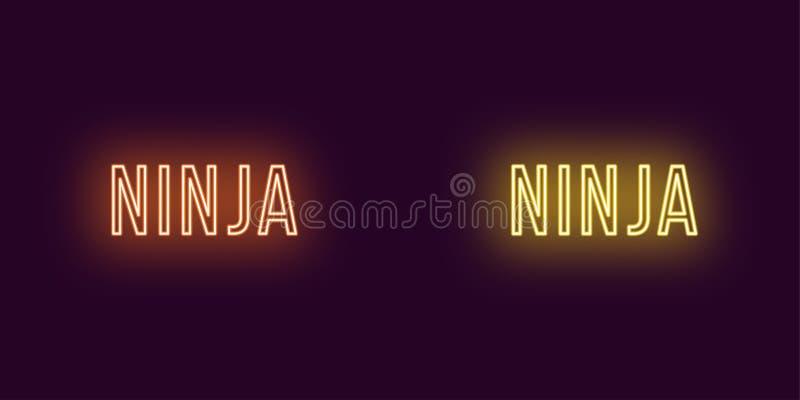 Inschrijving van Ninja in neonstijl Vectortekst stock illustratie