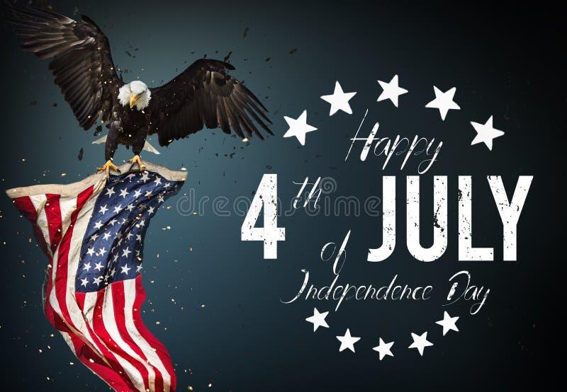 Inschrijvings Gelukkige 4 van Juli met de vlag van de V.S. royalty-vrije illustratie