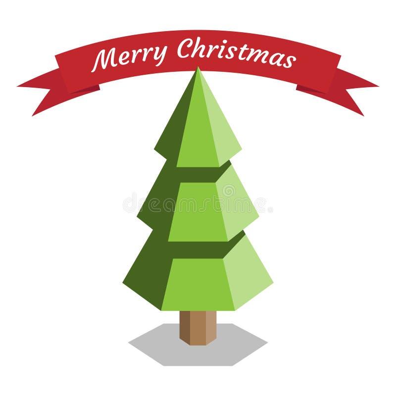 Inschrijvings Vrolijke Kerstmis en een groene Kerstboom Vector illustratie royalty-vrije illustratie