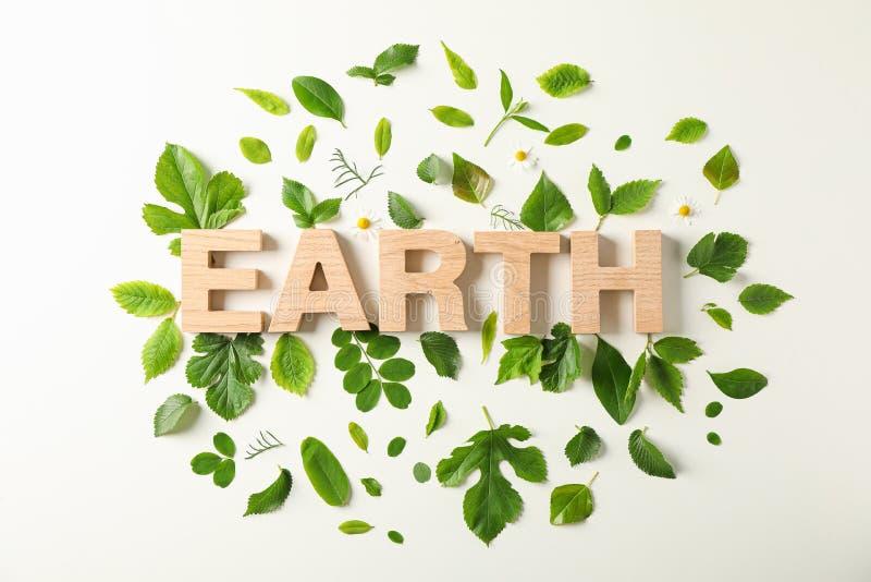 Inschrijvingsaarde en groen op lichte achtergrond, ruimte voor tekst Milieuvriendelijke transportmiddelen en vernieuwbare energie royalty-vrije stock foto