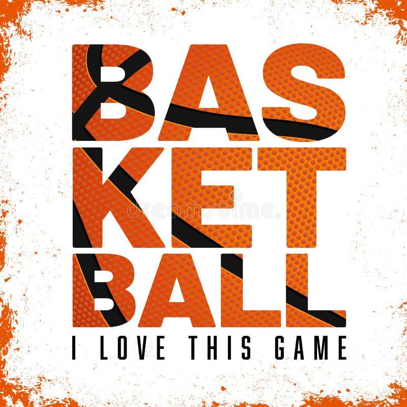 Inschrijvingsbasketbal met de structuur van de basketbalbal en grungy achtergrond royalty-vrije illustratie