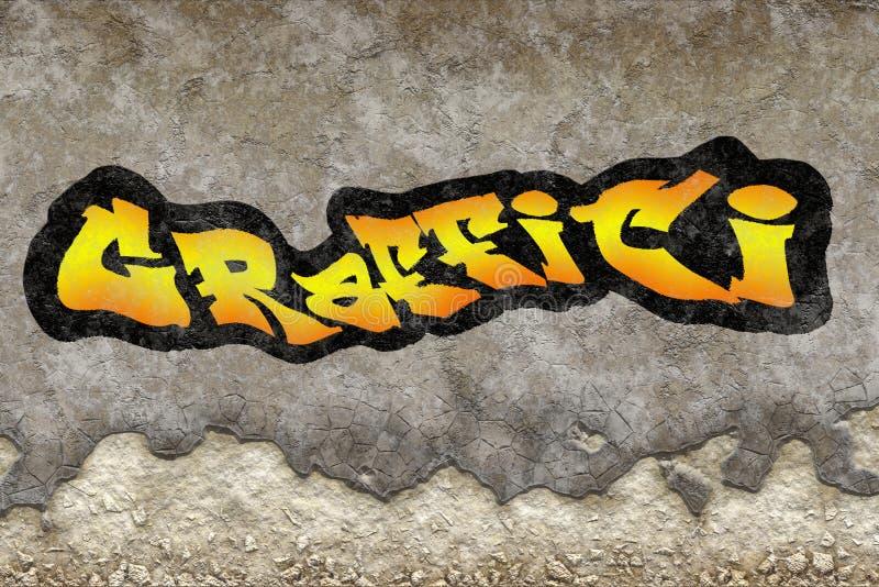 Inschrijvingsgraffiti op gepleisterde kruimeltaarttextuur wordt geverft van oude wa die royalty-vrije illustratie