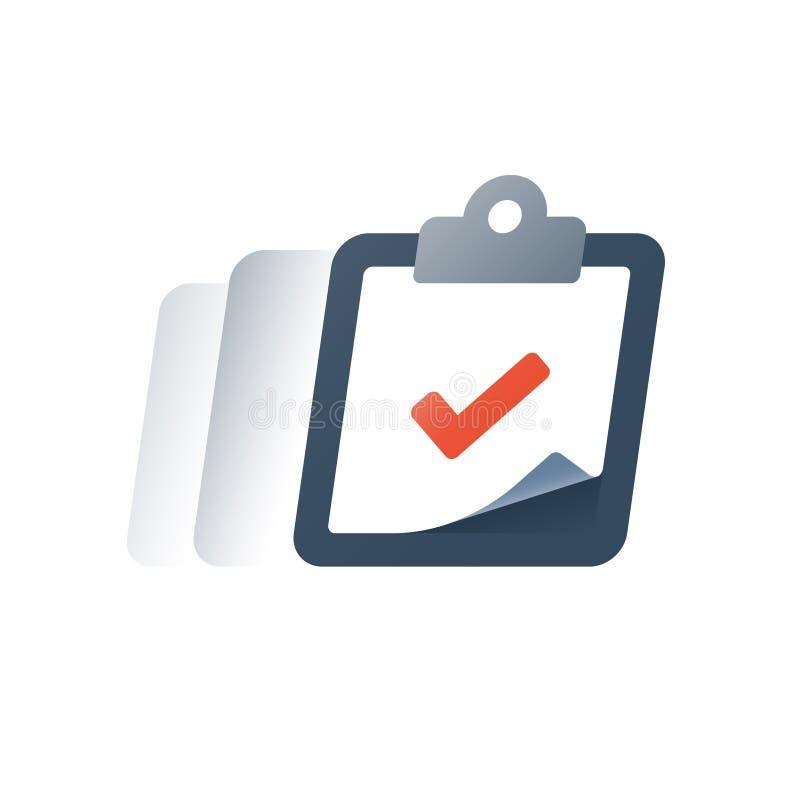 Inschrijvingsprogramma, zaken die volledig cursusconcept opleiden, projectleiding, verzekeringspolis vector illustratie