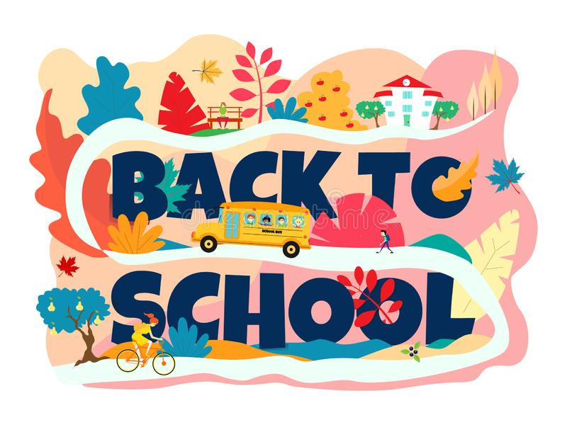 A inscrição 'de volta à escola 'é escura - azul O ônibus escolar vai acima do monte à escola Uma menina que monta uma bicicleta o ilustração royalty free