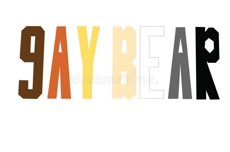 A inscrição 'urso alegre 'nas cores da bandeira de LGBT em um fundo branco imagens de stock