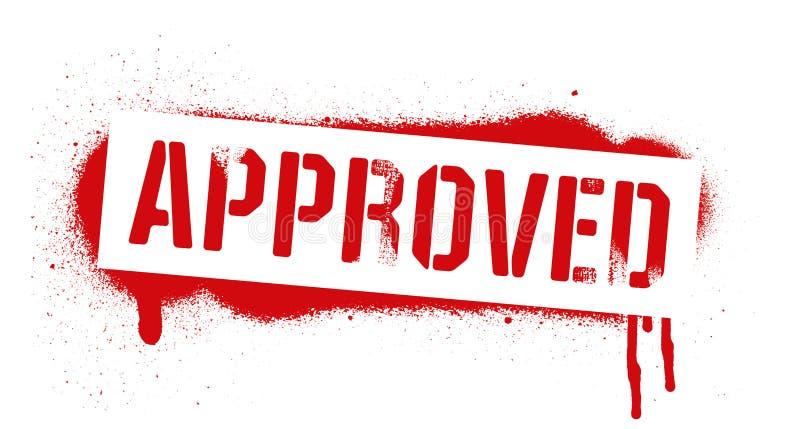 Inscrição APROVADA do estêncil Cópia vermelha dos grafittis no fundo branco Arte da rua do projeto do vetor ilustração stock