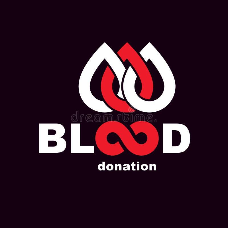 Inscrição da doação de sangue do vetor com símbolo ilimitado Salvar a vida e doe a ilustra??o conceptual do sangue ilustração do vetor