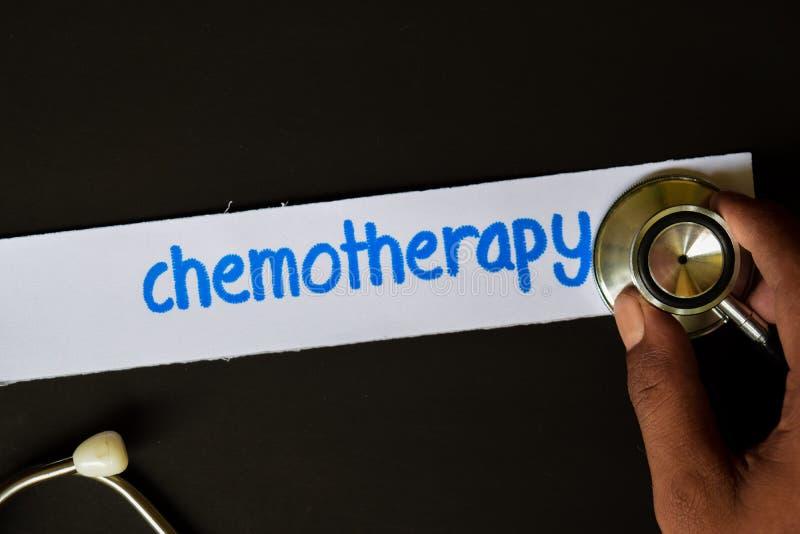 Inscrição da quimioterapia com a vista do estetoscópio fotografia de stock royalty free