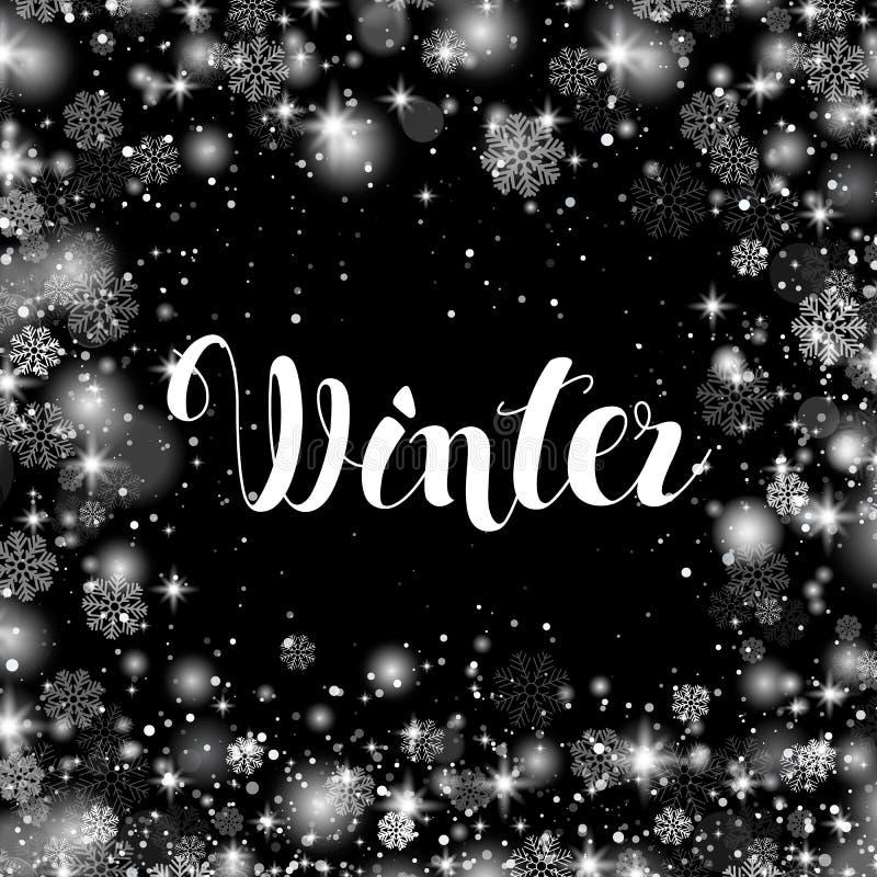 Inscrição da rotulação da mão do inverno Inspiração tirada mão do inverno ilustração stock