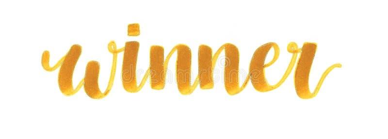 Inscrição da rotulação da mão do ` do vencedor do ` na cor do caramelo com contorno do ouro, para um vencedor ilustração stock