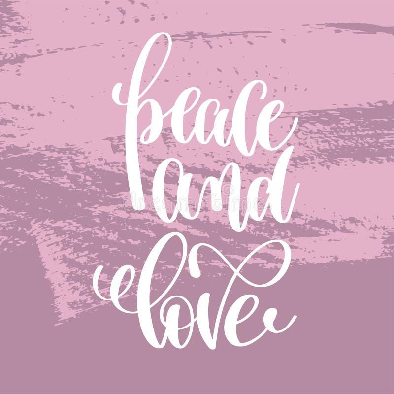 Inscrição da rotulação da mão da paz e do amor ilustração do vetor