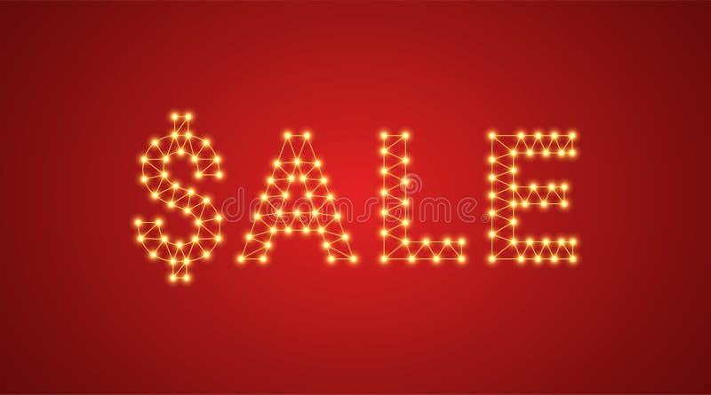 Inscrição da venda com lâmpadas de néon Ilustração do vetor, texto de incandescência da venda na cor dourada Elemento gráfico iso ilustração stock