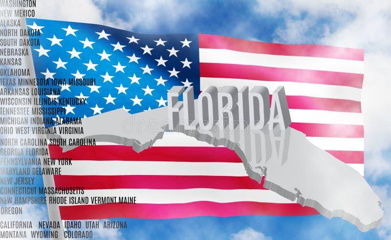 Inscrição de Florida no fundo da bandeira americana ilustração stock