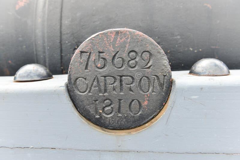 Inscrição de Henry National Historic Site Cannon do forte imagens de stock royalty free