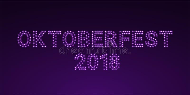 Inscrição de Violet Glowing de Oktoberfest 2018 ilustração royalty free