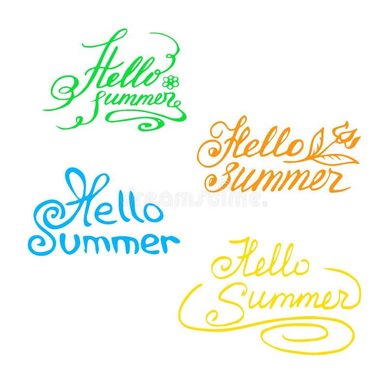 Inscrição desenhado à mão colorido olá!, verão! Rotulação ilustração stock