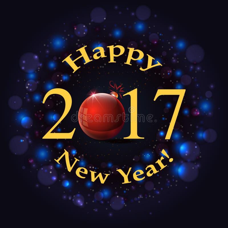 Inscrição do ano novo feliz no fundo do fogo de artifício ilustração royalty free