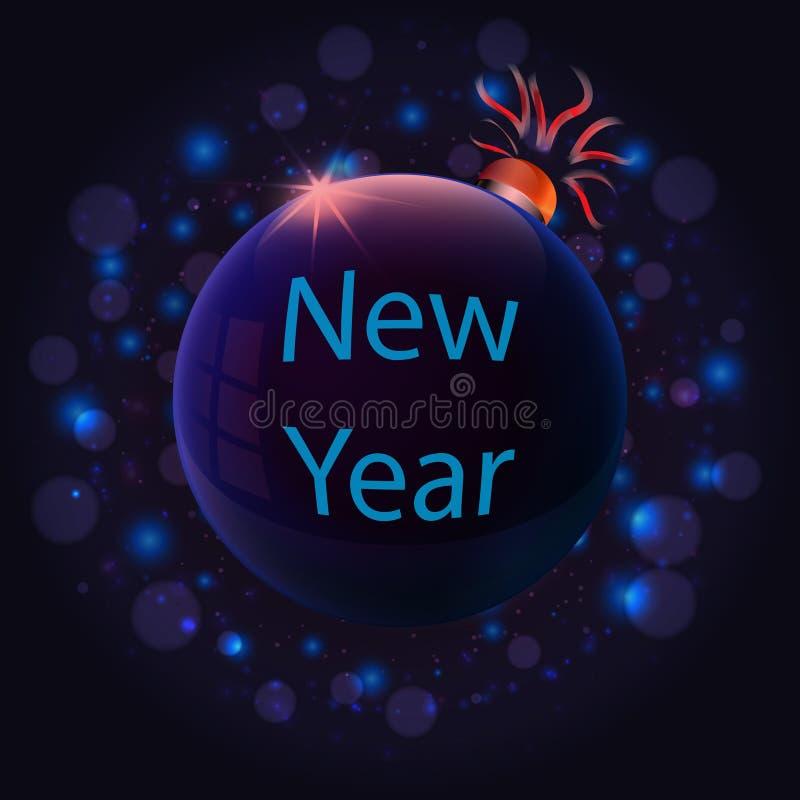 Inscrição do ano novo no brinquedo azul do Natal ilustração royalty free