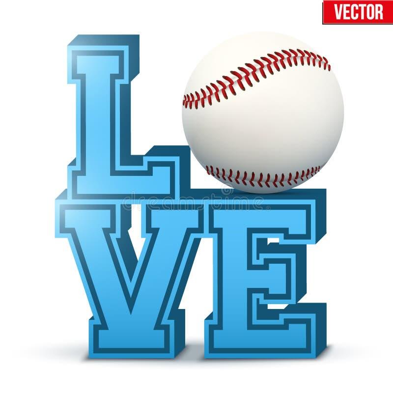 Inscrição do basebol do amor ilustração royalty free