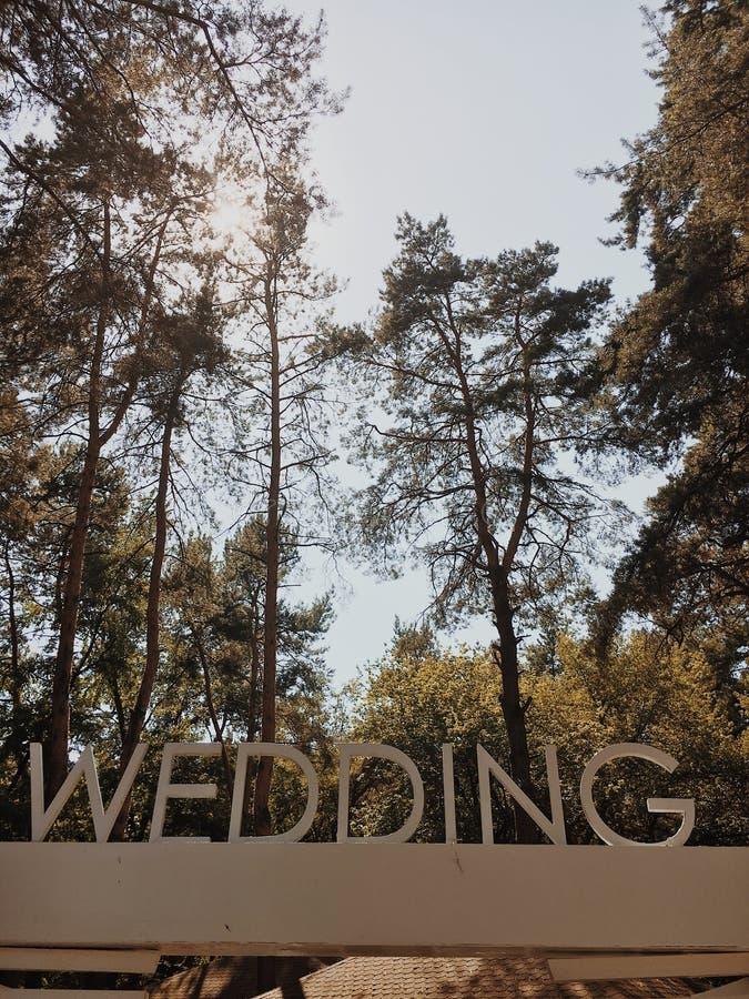 Inscrição do casamento com letras brancas grandes em um fundo do parque verde fotos de stock