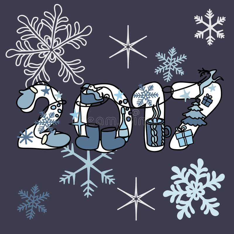 Inscrição do feriado do Natal em um fundo brilhante bonito 2017 novo foto de stock