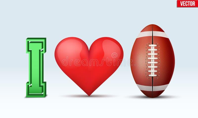 Inscrição do futebol do amor ilustração do vetor