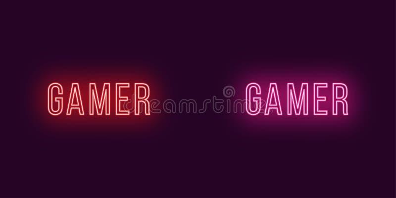 Inscrição do Gamer no estilo de néon Texto do vetor ilustração do vetor
