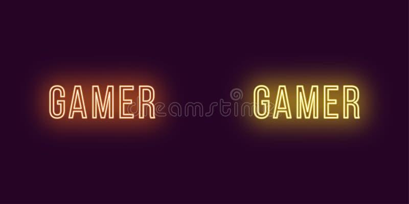 Inscrição do Gamer no estilo de néon Texto do vetor ilustração royalty free