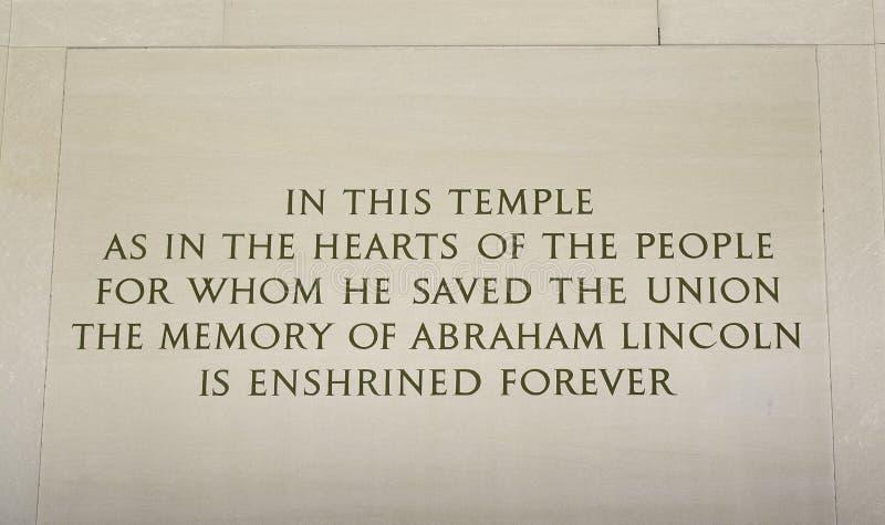 Inscrição do memorial de Lincoln fotos de stock