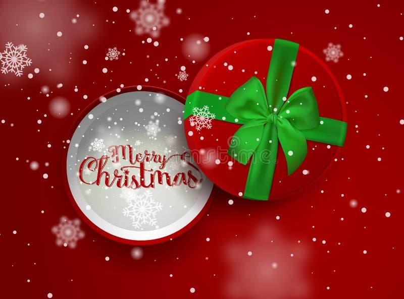 Inscrição do Natal na caixa de presente vermelha aberta com fita verde e na curva com a neve de queda isolada no fundo vermelho ilustração do vetor