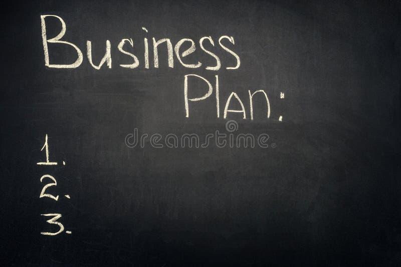 Inscrição do plano de negócios com lista das fases imagem de stock