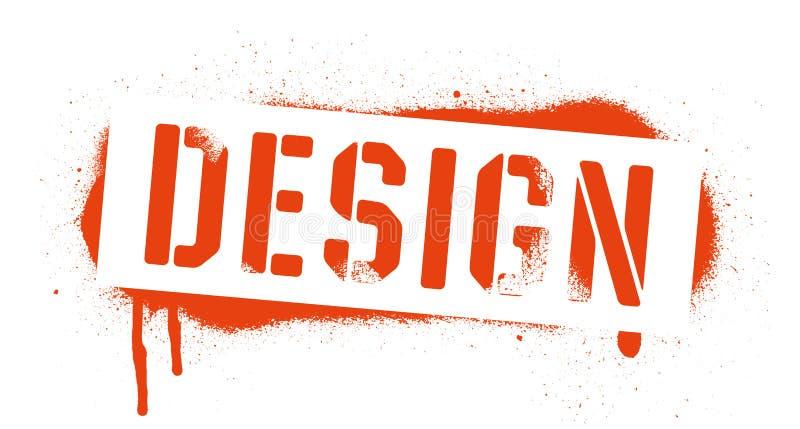 Inscrição do projeto do estêncil Cópia vermelha dos grafittis no fundo branco Arte da rua do vetor ilustração royalty free