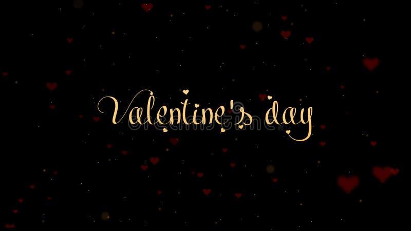 Inscri??o dourada do dia de Valentim, isolada no fundo preto, que bedecked com poucos cora??es vermelhos bonitos Seja meu imagem de stock