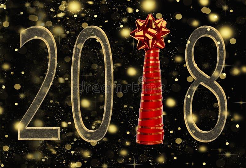 A inscrição 2018 e a árvore de Natal da fita são isoladas em um fundo preto com neve de queda, flocos de neve dourados ilustração royalty free