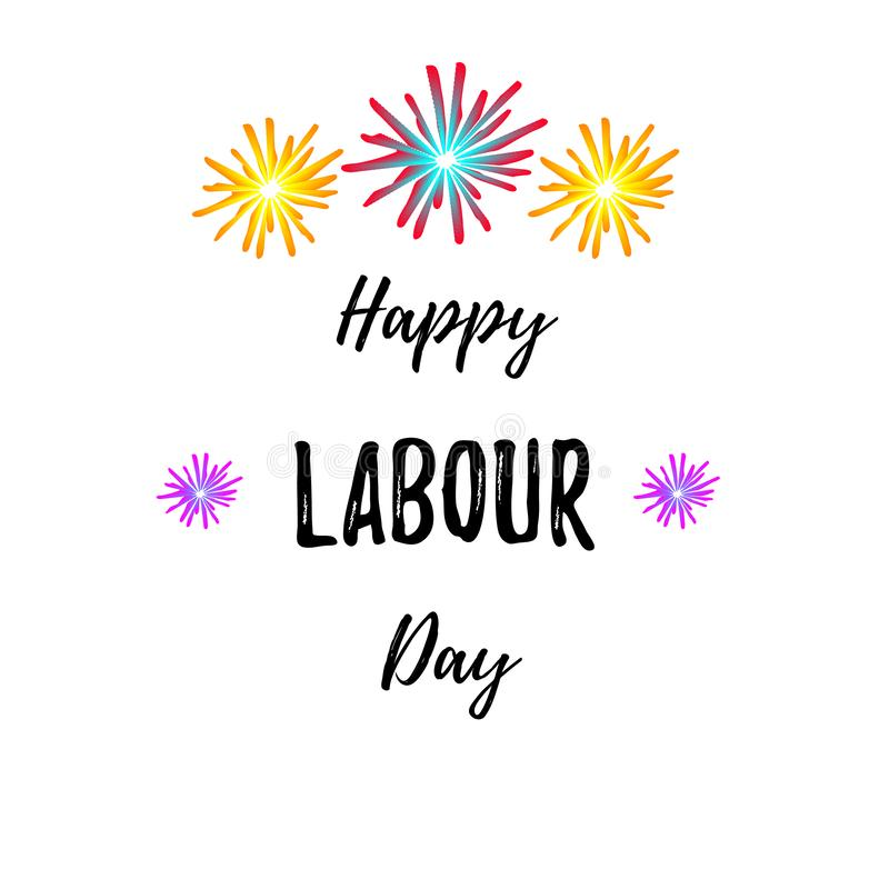 Inscrição feliz do dia de trabalho Dia do Trabalhador internacional Cartão com caligrafia Vetor ilustração do vetor
