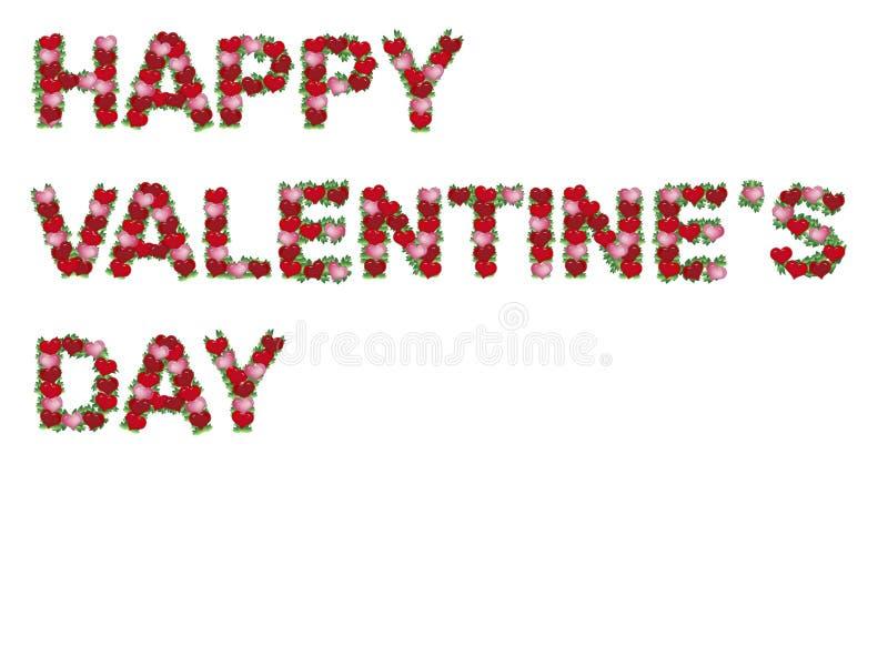 Inscrição feliz do Valentim dos corações isolados ilustração royalty free