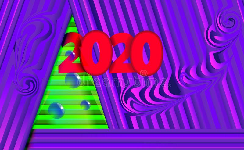 Inscrição fundo roxo e violeta de 2020 do ano novo do Natal com a árvore verde das tiras e dos ornamento das bolas da árvore mode fotografia de stock royalty free