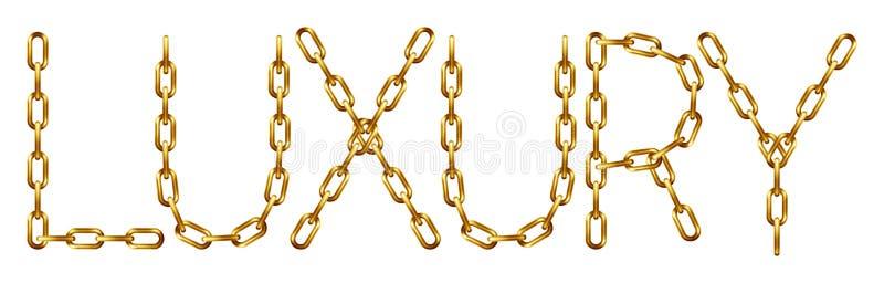 Inscrição luxuosa com as letras feitas da corrente dourada ilustração royalty free