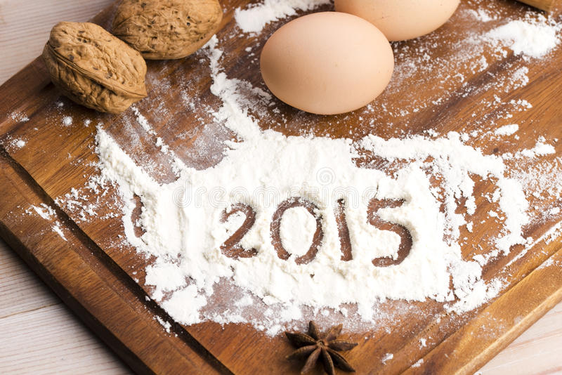 A inscrição na farinha - 2015 imagem de stock