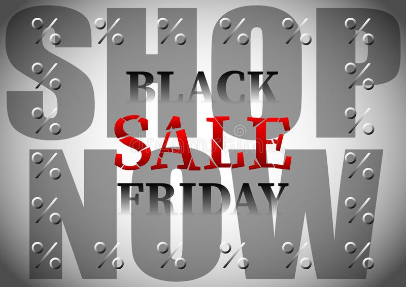 A inscrição, rotulação, subtítulo, intitula a venda preta de sexta-feira, loja agora, por cento ilustração royalty free