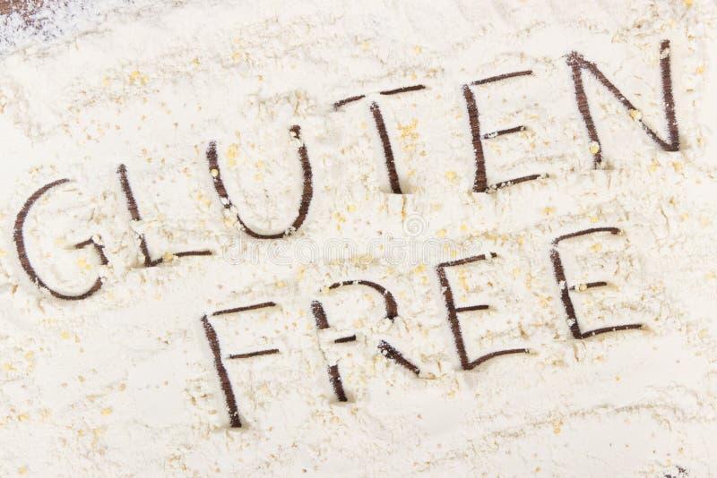 Inscrição sem glúten com aveia em flocos do painço e montão da farinha, alimento saudável fotografia de stock