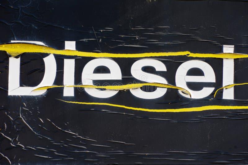 Inscrição velha diesel fotografia de stock