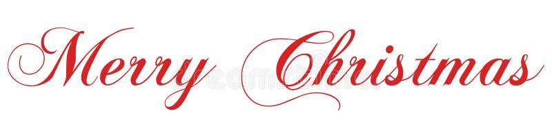 Inscrição vermelha da rotulação da mão do Feliz Natal ao feriado de inverno imagem de stock