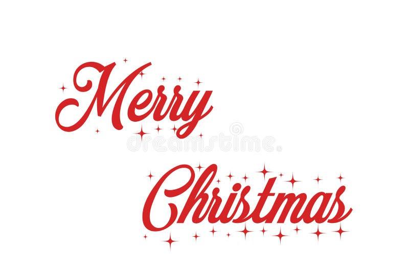 Inscrição vermelha da rotulação da mão do Feliz Natal ao feriado de inverno fotografia de stock royalty free