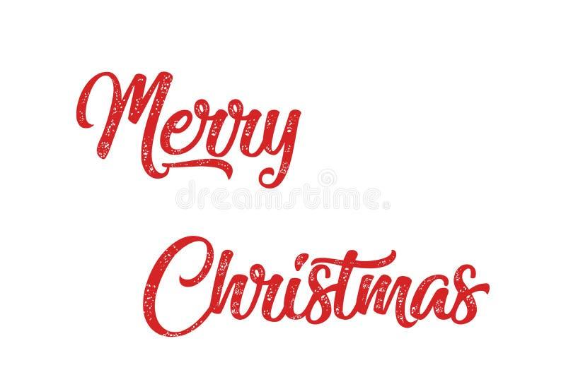 Inscrição vermelha da rotulação da mão do Feliz Natal ao feriado de inverno imagens de stock