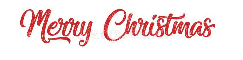 Inscrição vermelha da rotulação da mão do Feliz Natal ao feriado de inverno imagens de stock royalty free