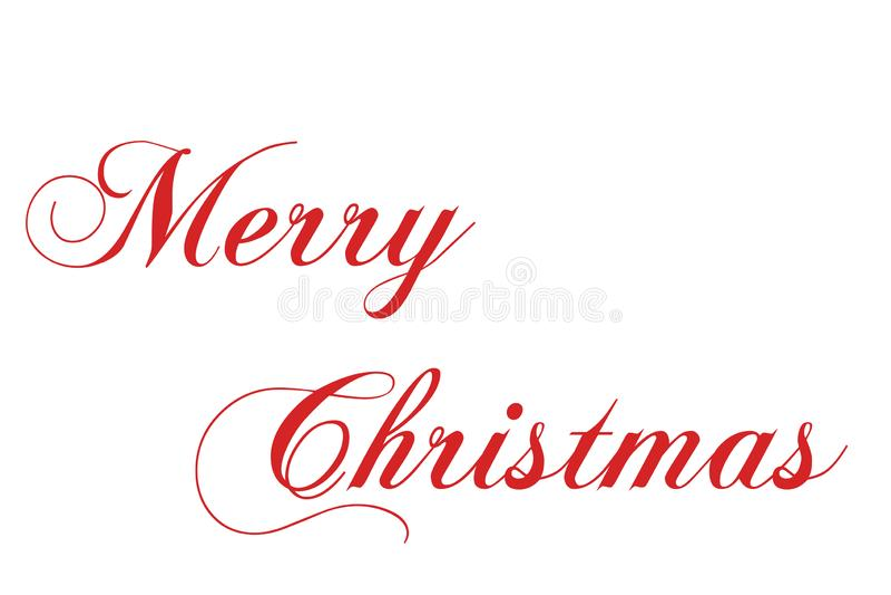 Inscrição vermelha da rotulação da mão do Feliz Natal ao feriado de inverno foto de stock